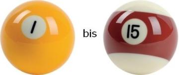 Billard-Einzelkugel 57,2 mm Nr. 1 bis 15 in Turnierqualität -