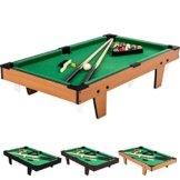 Mini Pool Billardtisch inkl. Zubehör (2 Queues, Kugeln, Dreieck, Kreide, Bürste), 3 Dekore, Maße: 92x52x19cm -
